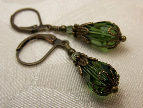 Forest Green Teardrop Crystal Bronze Earrings Steampunk Jewelry Antique Vintage Victorian Bridal Style on Etsy, $28.00