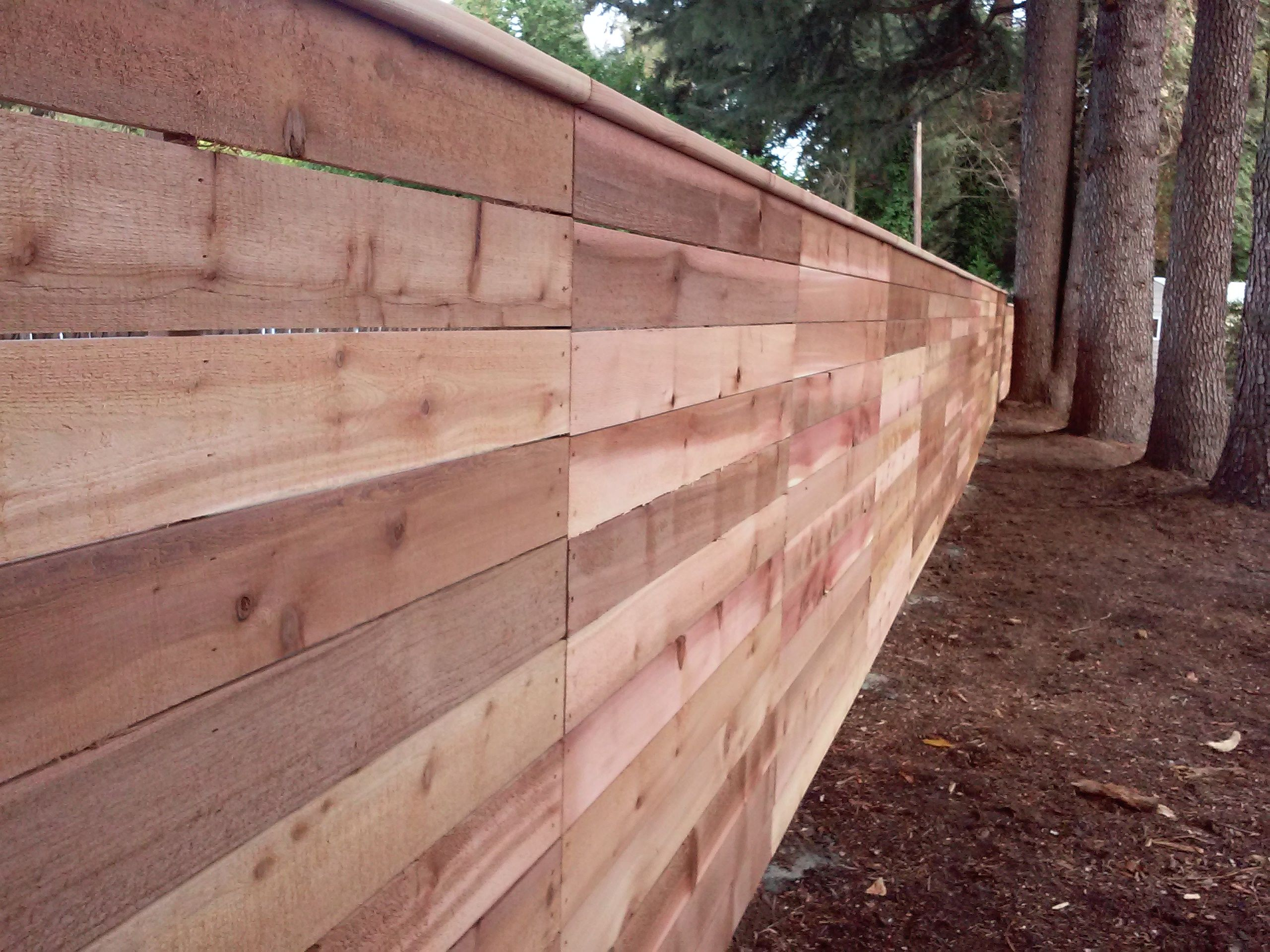 horizontal wood fencing with cedar top rail custom horizontal
