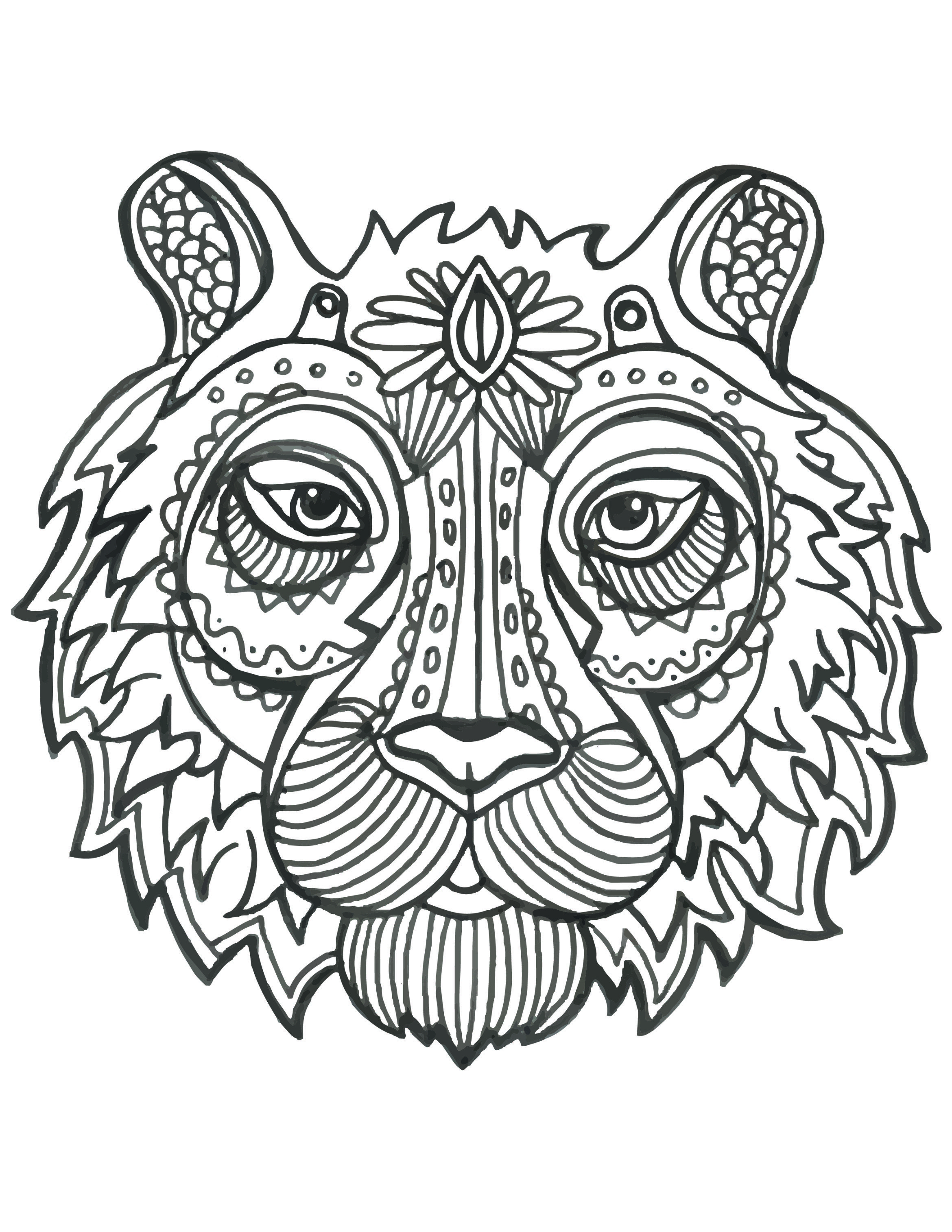Coloriage De Animaux Tete De Tigre A Imprimer Animal Coloring