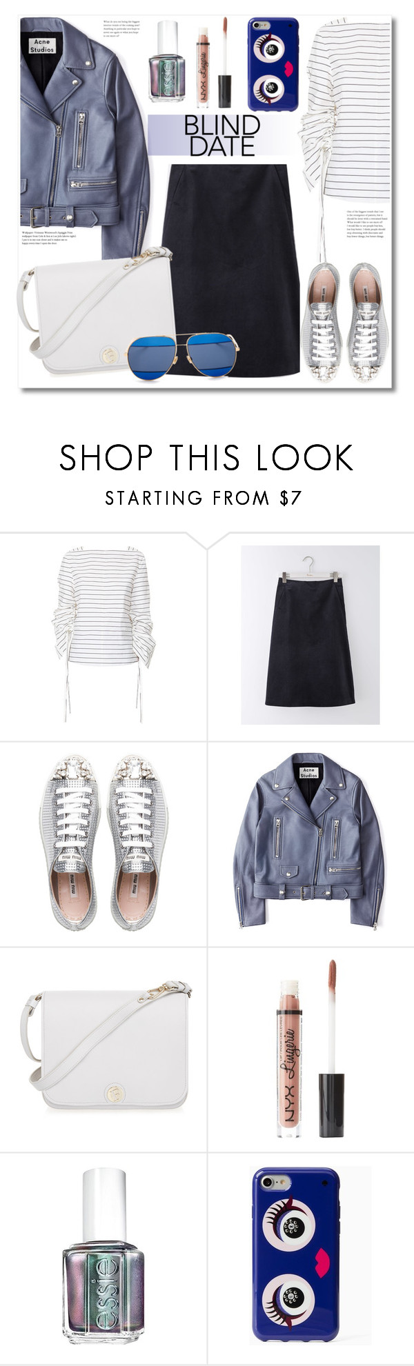 """""""Get the look"""" by vkmd ❤ liked on Polyvore featuring TIBI, Boden, Miu Miu, Acne Studios, Furla, Charlotte Russe, Essie, Kate Spade, Christian Dior and blinddate"""