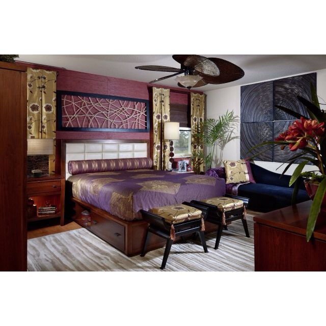 Asian Inspired Master Bedroom With Purple And Gold   Contemporary   Bedroom    Miami   Myriam Payne