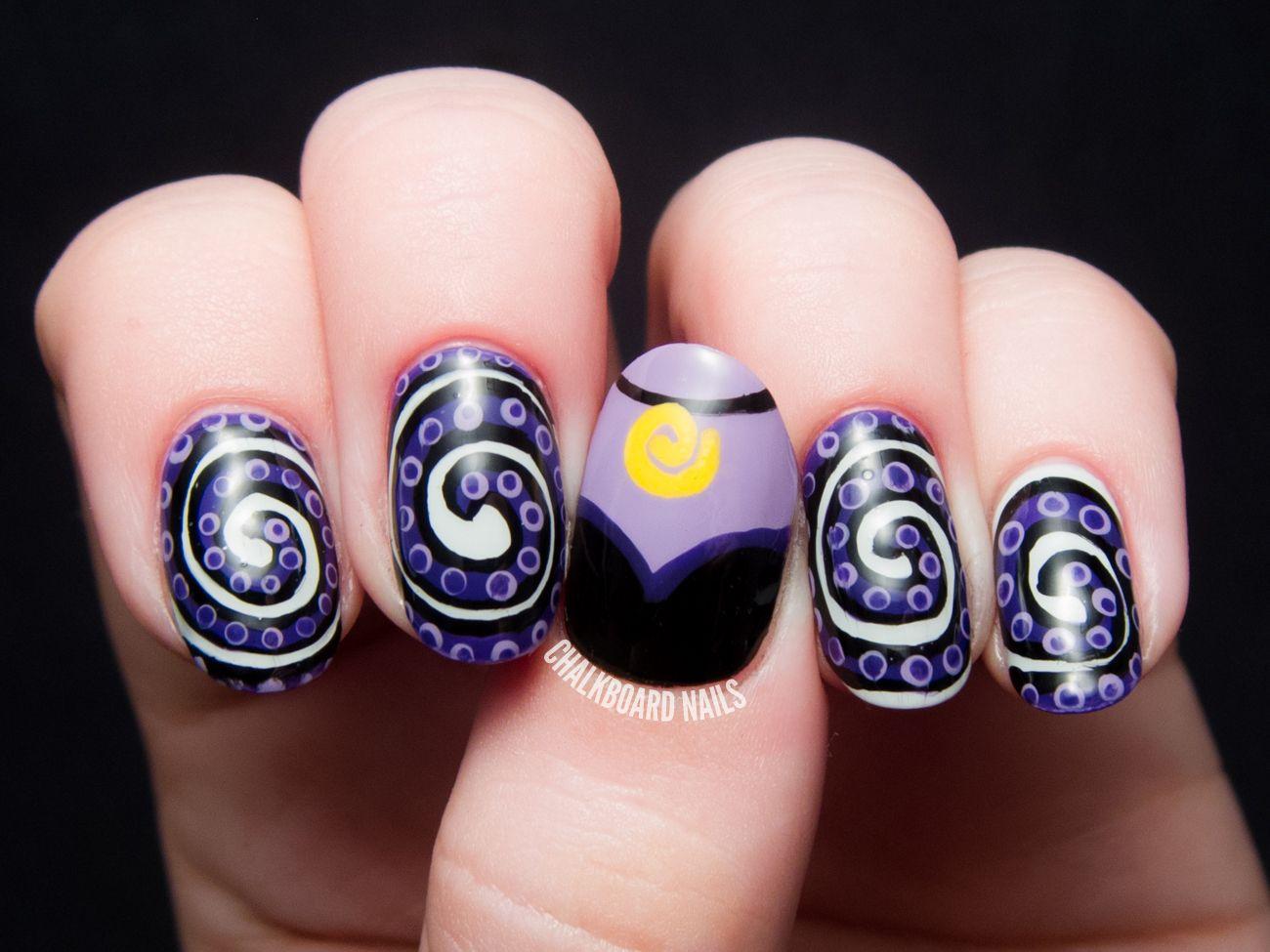 The Disney Diva - Ursula Nail Art | Disney divas, Chalkboard nails ...