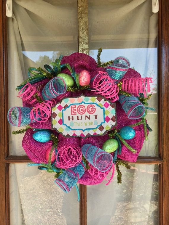 Easter Mini Deco Mesh Wreath by LAgritsDesign on Etsy, $35.00