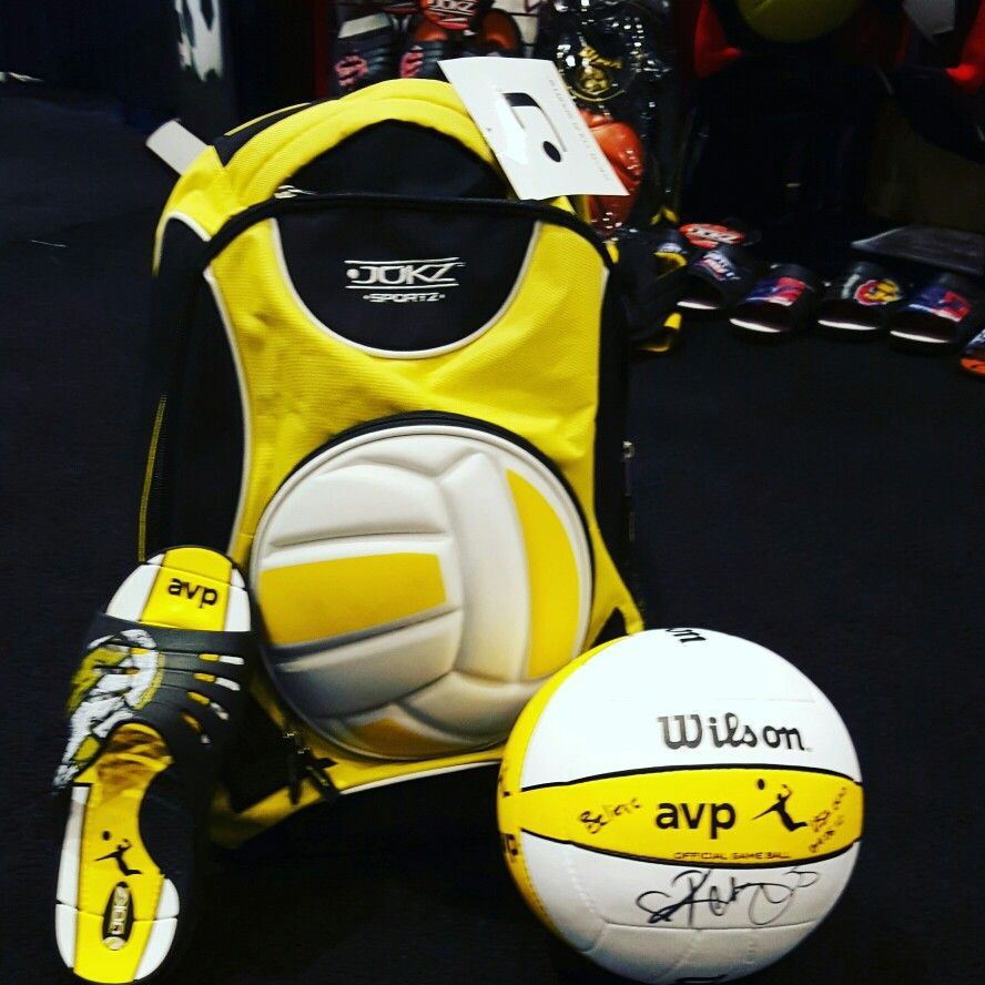 Jukz Avp Beach Volleyball Slides And Backpack Ball Autographed By Kerri Walsh Goin4gold Beach Volleyball Sport Slippers Volleyball Team