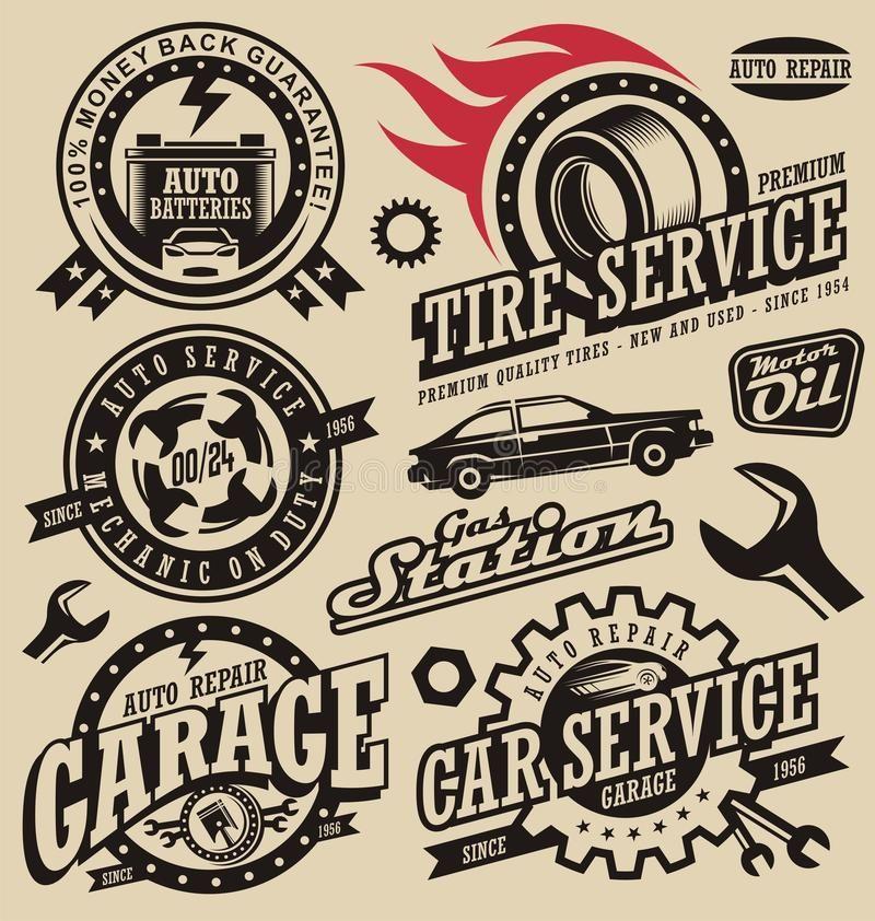 Car Service Symbols Auto And Engine Parts Retro Car Icons Collection Vintage Spon Retro Parts Icons Car Engin Car Icons Garage Logo Auto Repair