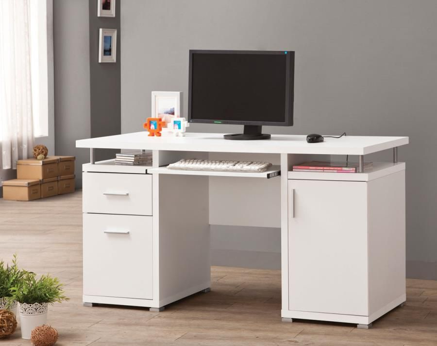 Coaster 800108 White Office Desk With Storage Cabinet White Computer Desk Computer Desks For Home Contemporary Computer Desk