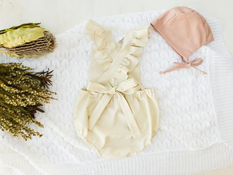 Ivory Cream Linen Romper Flutter Sleeve Playsuit Baby Girl | Etsy