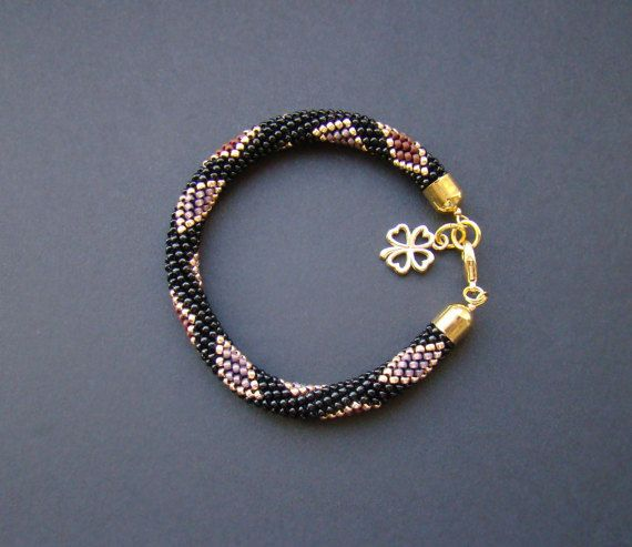 Black Gold Bracelet / Beaded Crochet Bracelet / Colored Bracelet / Crochet bead rope  / Geometric pattern/ Women gift