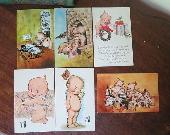 Lot of 6 Super Cute Kewpie Post Cards - Rose O'Neill - Vintage 1970s by dandelionvintage, $12.00