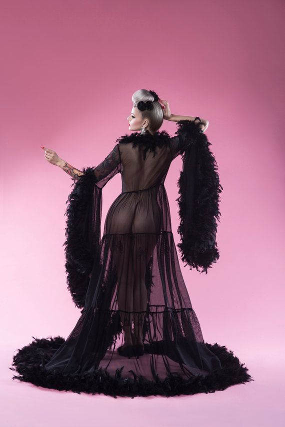 ... Gown Pin Up Goth Gothic Retro Vintage. SALE 30% OFF first 10 robes  Black Burlesque Feather Robe a3a155f5a