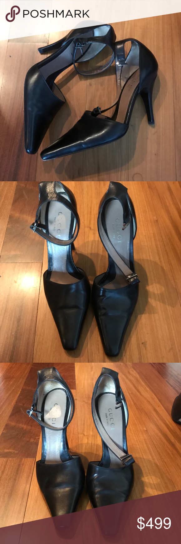 Gucci Black Ankle Strep heels size 7 Authentic beautiful Gucci black ankle strip pumps. These are timeless and gorgeous. Excellent condition! Gucci Shoes Heels