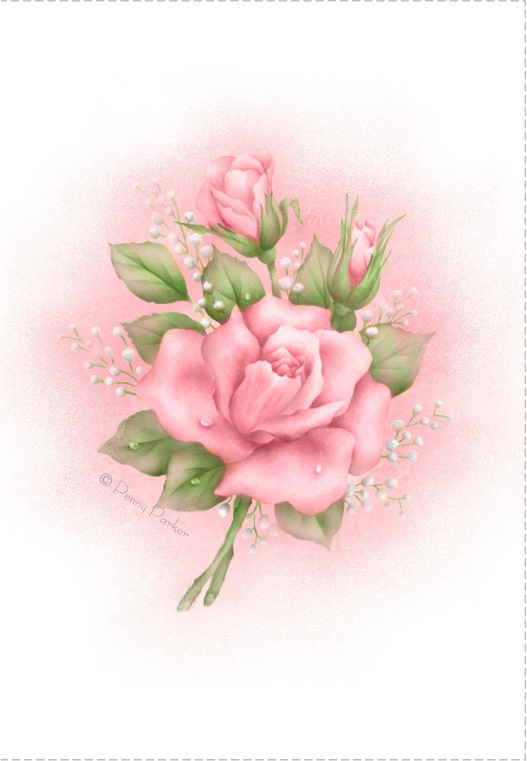 Free Printable Pink Roses Greeting Card Flower Art Flower Painting Vintage Flowers