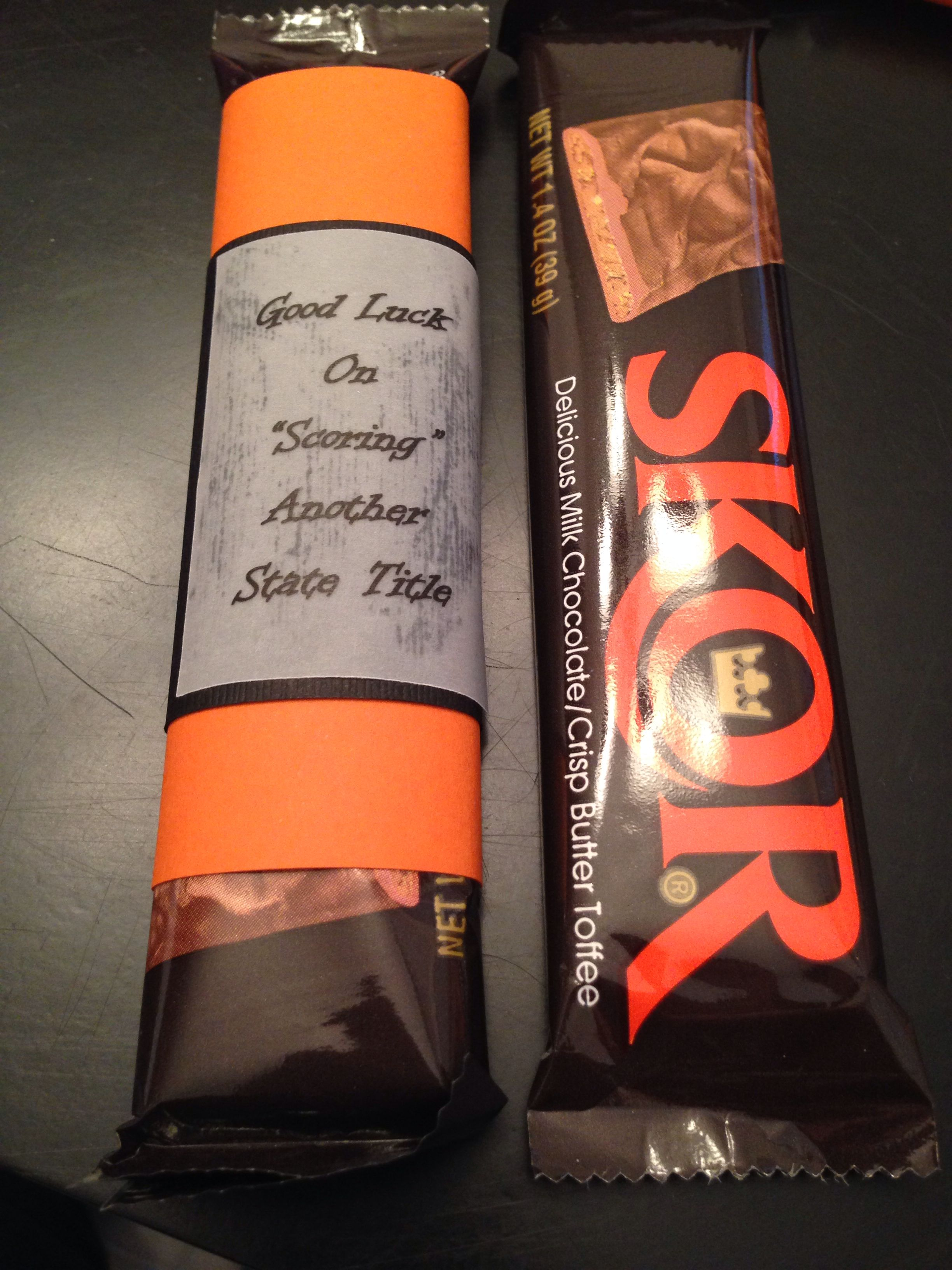 Coaches gift. Wrestling. Skor candy bar wrapped in team ...