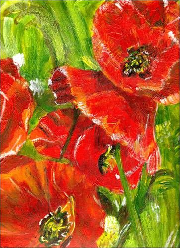 red poppies acryl painting art pinterest acryl mohnblume und malerei. Black Bedroom Furniture Sets. Home Design Ideas