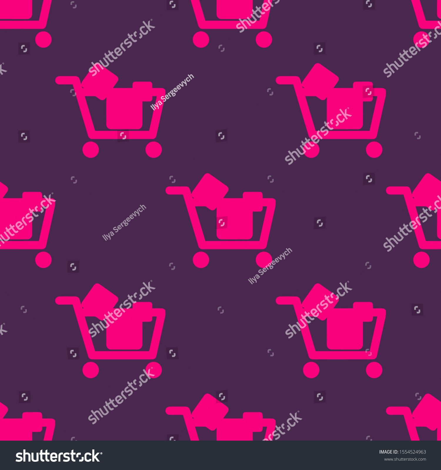 Seamless two color deep pink shopping cart with objects