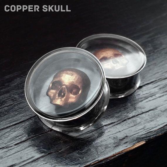 "Copper Skull Ear Plugs Pair Steel Tunnel 316L - 0g 8mm 00g 10mm 7/16"" 11mm 1/2"" 12mm 9/16"" 14mm 5/8"" 15mm 3/4"" 19mm 7/8"" 22mm 1"" 25mm"