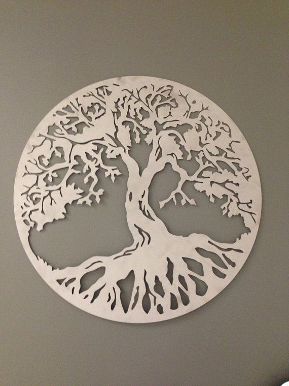 Silver Round Tree Of Life Industrial Metal Wall Art By Alkemymetal, $49.00