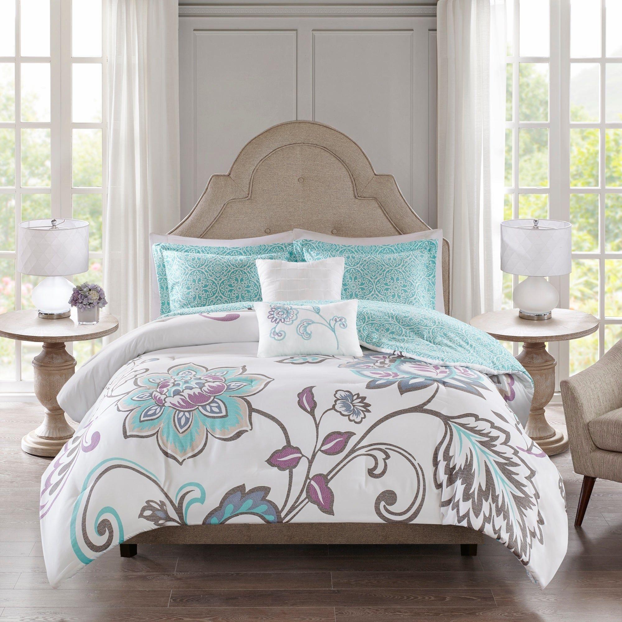 510 Design Gratia Aqua 5 Piece Full Queen Size Reversible Print Comforter Set As Is Item Comforter Sets Online Bedding Stores Affordable Bedding