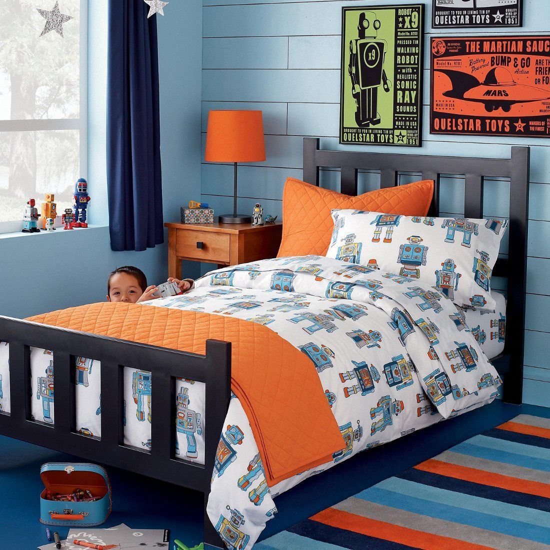 Lovely Kids Room. Cool Blue Boys Bedroom Design With Assorted Colors Stripes  Carpet And Brick Wall