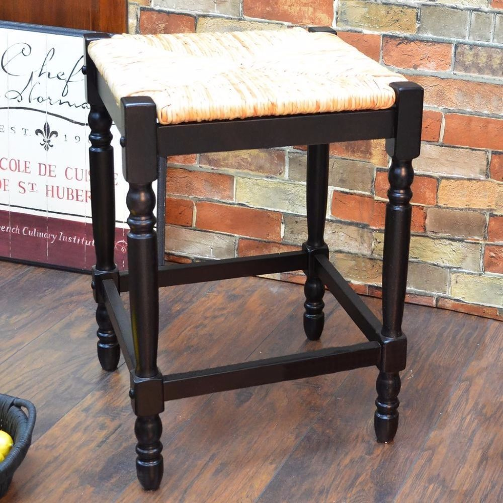 Antique Black Contemporary Styled Bar Stool Comfortable Rush Seat 29 Inches