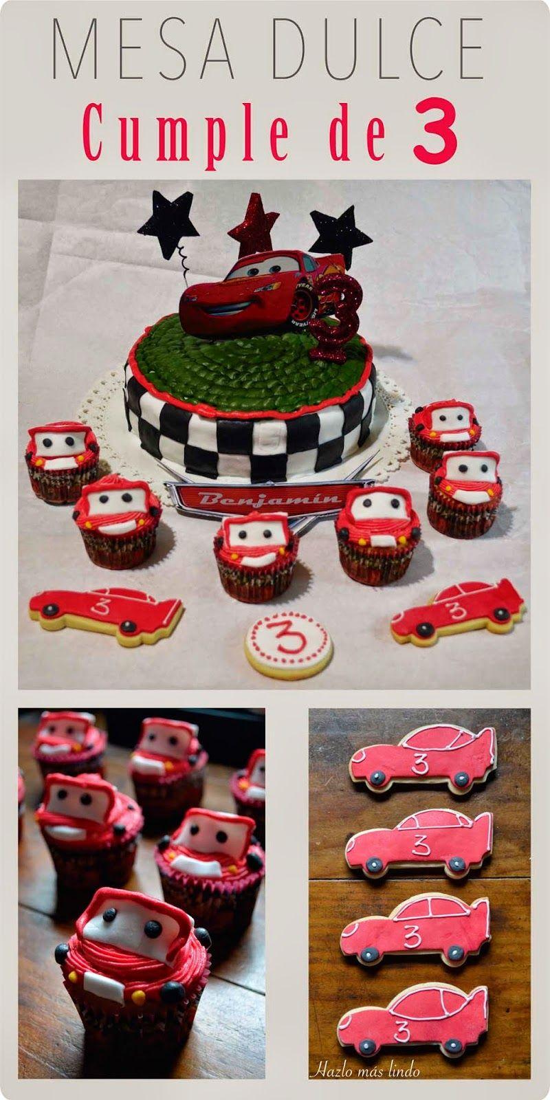 Cars: Cumpleaños de 3 años #torta #cupcakes #galletitas