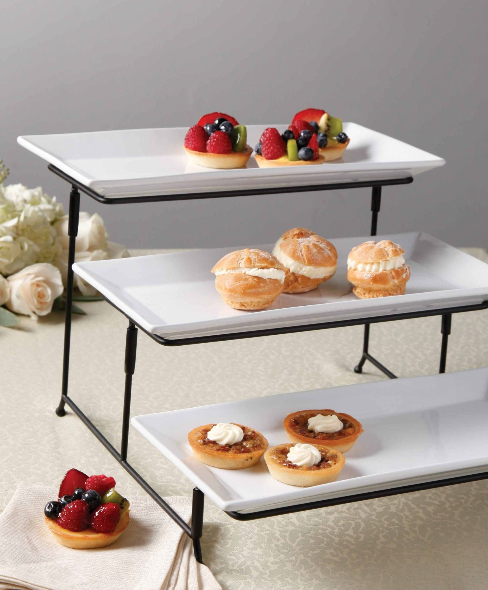 Brighten Your Next Dinner Party With This 3 Tier Plate Set With Metal Stand From Gibson Featuring Three Elegant R Cake Stand Set Tiered Stand Serving Platters