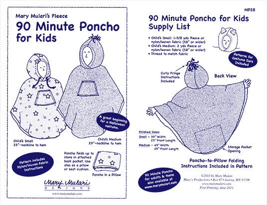 90 Minute Poncho Sewing Pattern For Kids Pattern By Mary Mulari