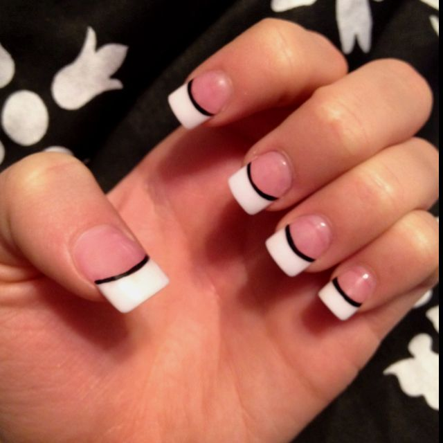 White french tips with black line; my usual