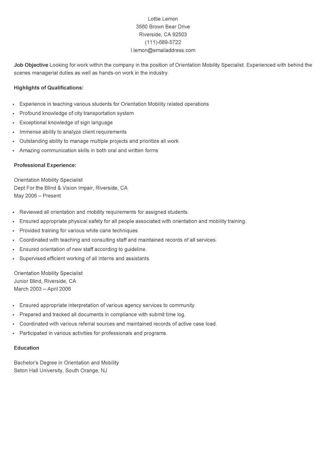 Sample Orientation Mobility Specialist Resume  Resame