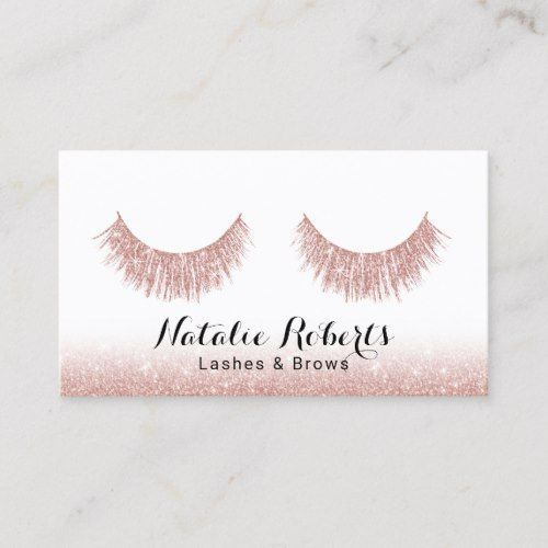 23ca95b9f46 Lashes & Brows Makeup Artist Modern Rose Gold Business Card   Zazzle ...