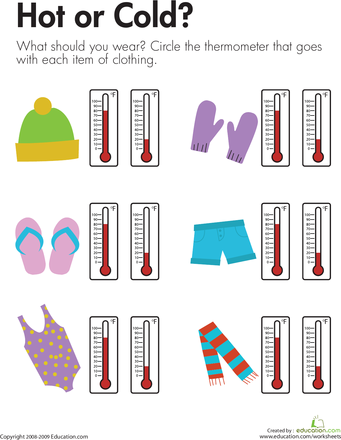 Temperature Hot Or Cold Worksheets Winter And Maths