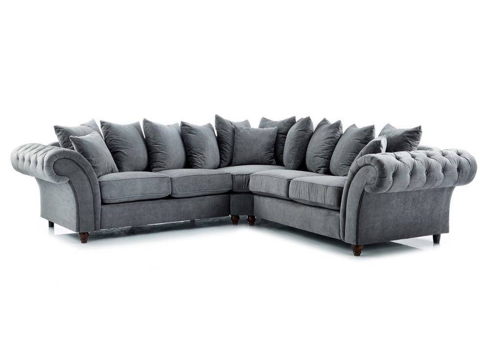 Fabric Double Corner Sofa The Windsor Chesterfield Arms Charcoal Home Furniture Diy Sofas Armchairs Suites Ebay