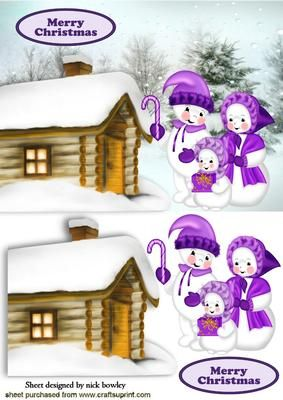 SNOWMAN FAMILY WITH COTTAGE IN THE SNOW on Craftsuprint designed by Nick Bowley - SNOWMAN FAMILY WITH COTTAGE IN THE SNOW, Makes a pretty christmas card - Now available for download!