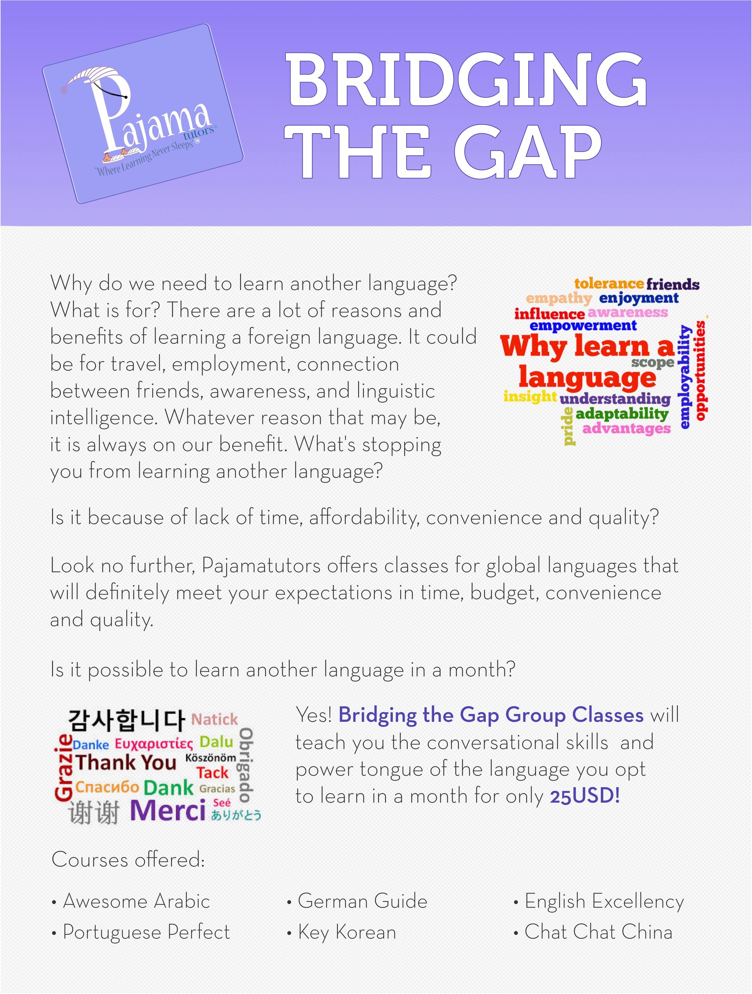 Check Out Pajama Tutors Bridging The Gap Language Course To Get - Global language course