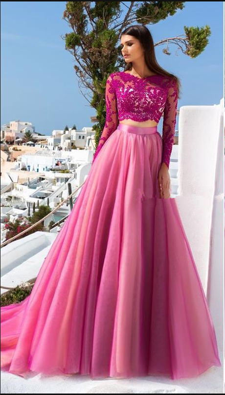 380731f1b4849 Hot Pink Tulle Lace Evening Dresses Long Sleeves Open Back Two Piece Light  Purple Prom Dresses Sexy Backless Party Dresses Evening Gowns