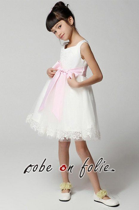 475574c08c933 Magnifique robe de cocktail courte pour enfant en bustier brodée avec jupe  bouillonnée