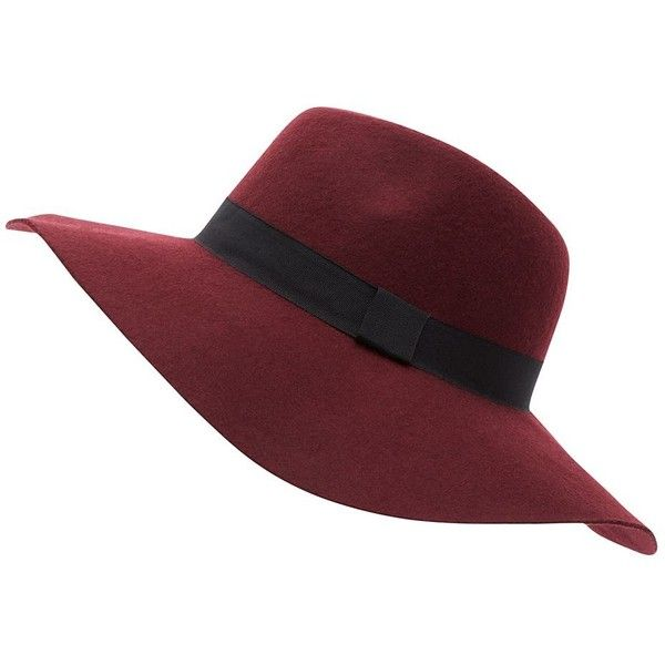 bd9f0ba4664 Dark Red Wool Oversized Fedora ( 15) ❤ liked on Polyvore featuring  accessories