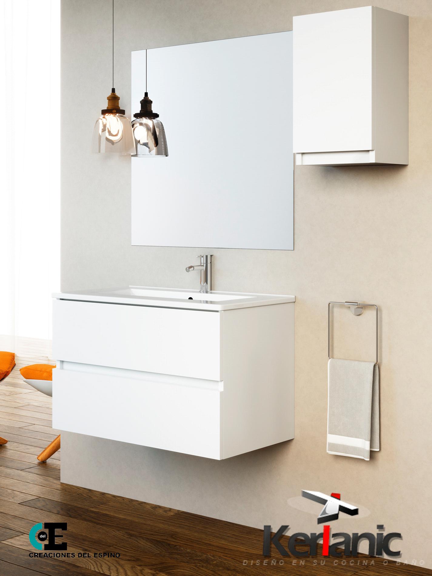 Mueble de baño Luxe 2 cajones 60 cm. (conjunto mueble ...