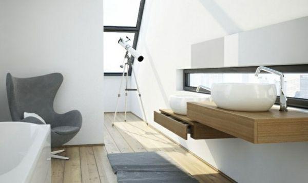 Waschtisch Holz moderne Möbel Fenster Dachschräge Badezimmer - deko für badezimmer