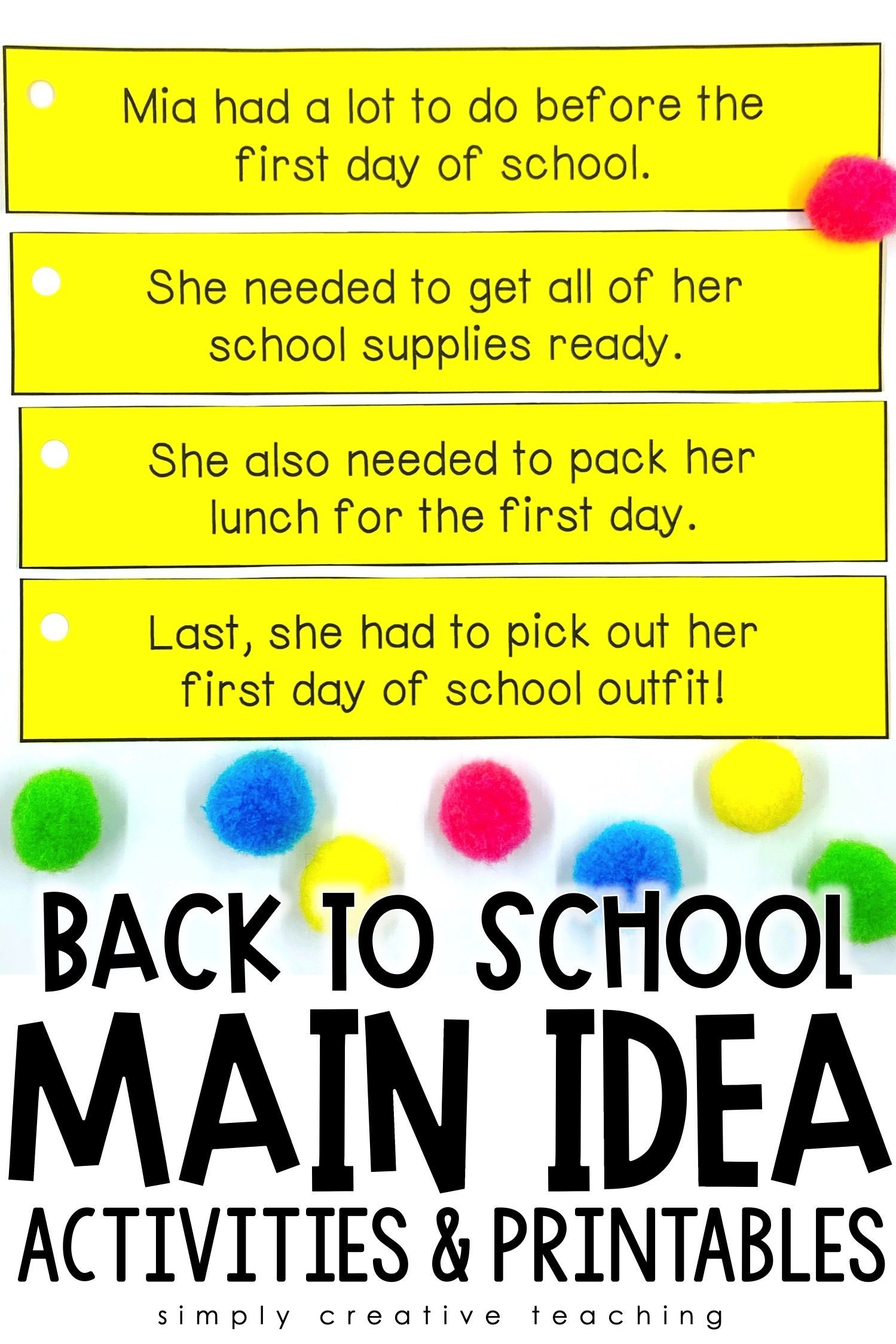 Main Idea Amp Details Activities For Back To School In