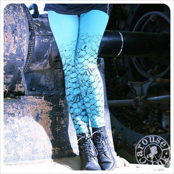 Aqua Blue Leggings - Mermaid Tail Tights - Womens legging. $28.00, via Etsy.