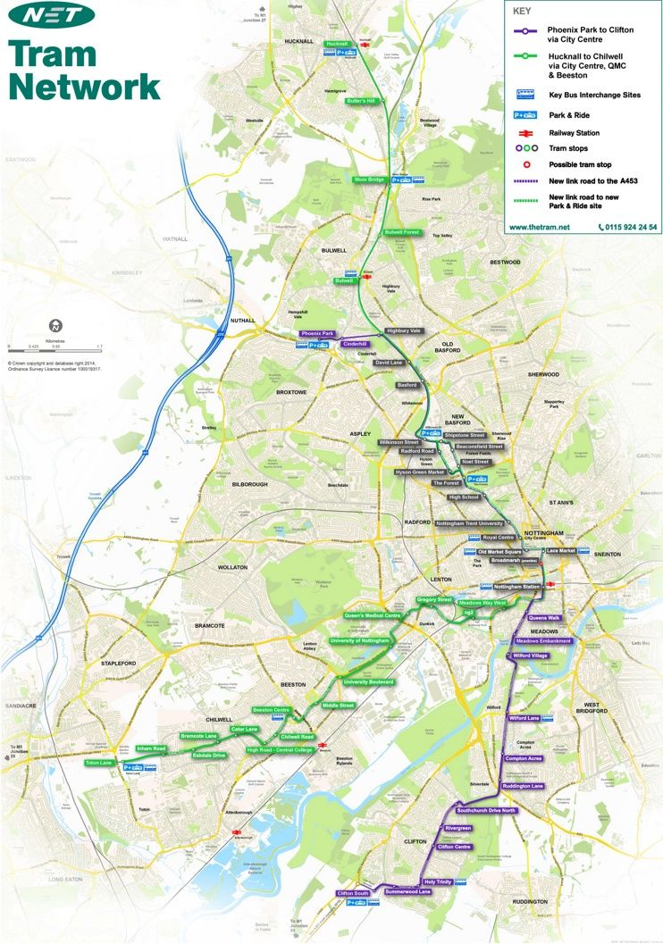 Nottingham tram map Maps Pinterest City