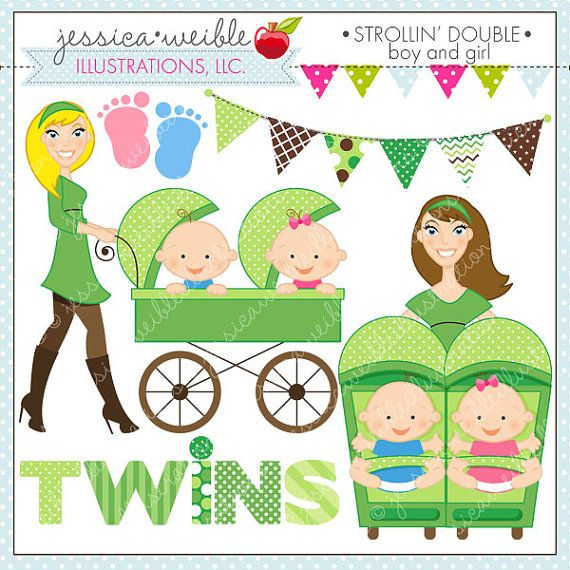 Strollin Double Boy and Girl Cute Digital by JWIllustrations, $5.00