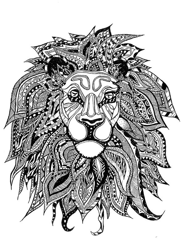 American hippie art coloring page zentangle lion for Lion mandala coloring pages