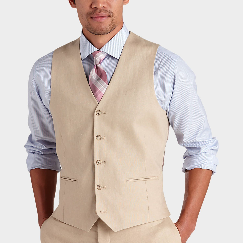 Pronto uomo platinum modern fit linen suit separate vest tan suit