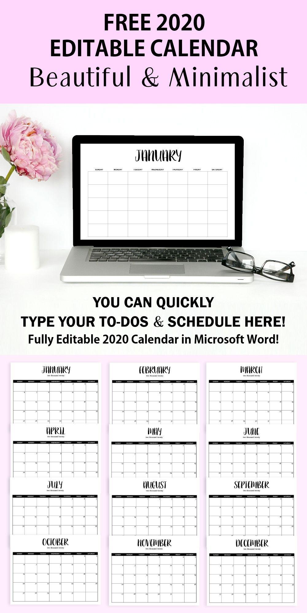 Free Fully Editable 2020 Calendar Template In Word Editable