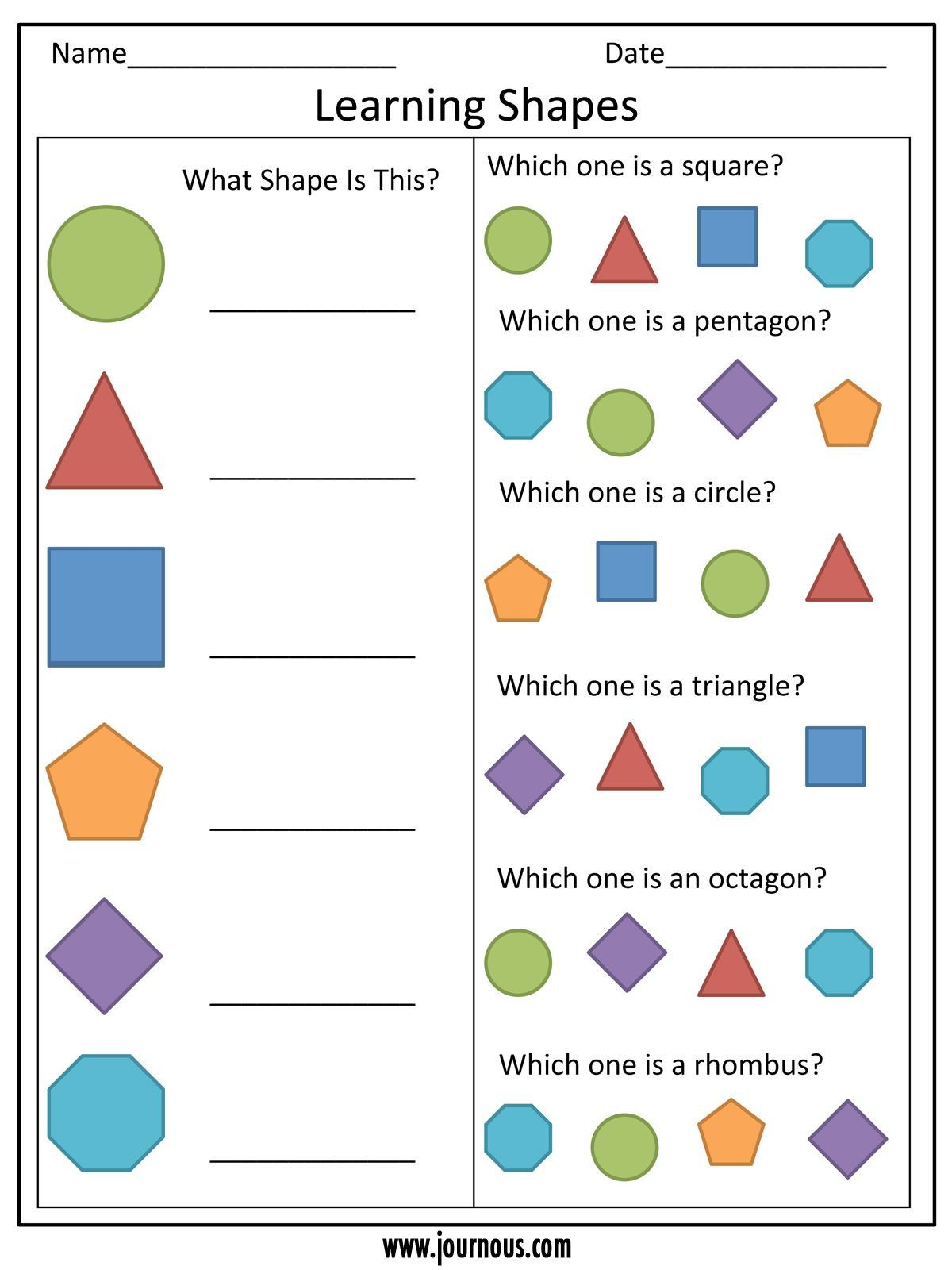 4 Preschool Worksheets Shape In