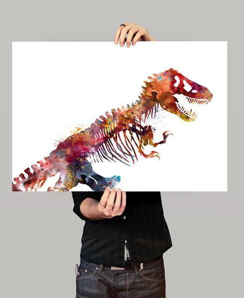 Dinosaurs Skeleton Watercolor Art Print, Colorful Dinosaurs Watercolor Painting, Wall Art Print, Animal Poster (48)