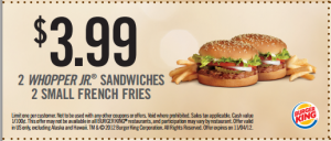 Burger king whopper meal coupon