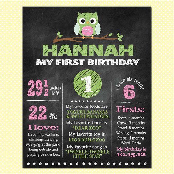 Custom Chalkboard Birthday Poster - Owl Theme (multiple sizes available) on Etsy, R$48,41